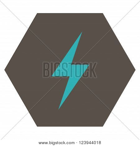 Electricity vector symbol. Image style is bicolor flat electricity iconic symbol drawn on a hexagon with grey and cyan colors.