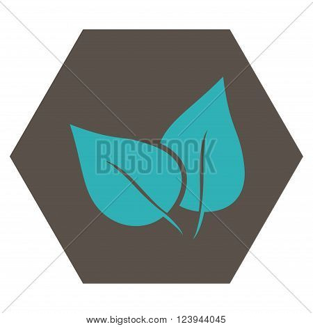 Flora Plant vector pictogram. Image style is bicolor flat flora plant pictogram symbol drawn on a hexagon with grey and cyan colors.
