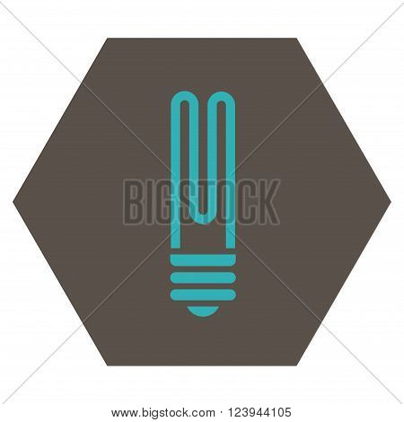Fluorescent Bulb vector icon. Image style is bicolor flat fluorescent bulb icon symbol drawn on a hexagon with grey and cyan colors.