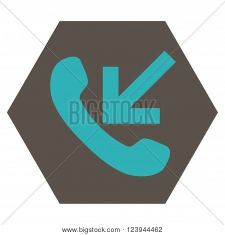 Incoming Call vector pictogram. Image style is bicolor flat incoming call pictogram symbol drawn on a hexagon with grey and cyan colors.