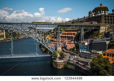 Metal bridge named Dom Luis in the city of Porto, Portugal
