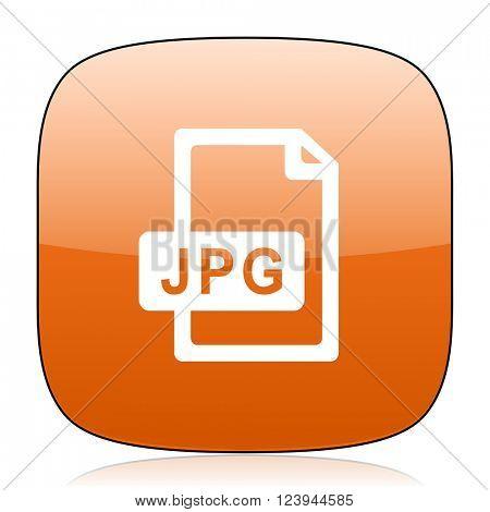 jpg file orange square glossy web icon