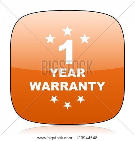 warranty guarantee 1 year orange square glossy web icon