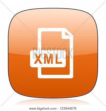 xml file orange square glossy web icon