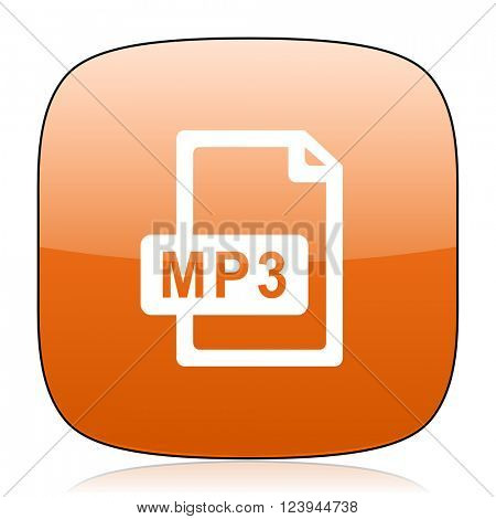 mp3 file orange square glossy web icon