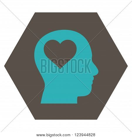 Lover Head vector pictogram. Image style is bicolor flat lover head icon symbol drawn on a hexagon with grey and cyan colors.