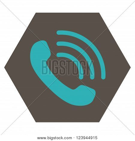 Phone Call vector icon. Image style is bicolor flat phone call iconic symbol drawn on a hexagon with grey and cyan colors.