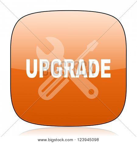 upgrade orange square glossy web icon