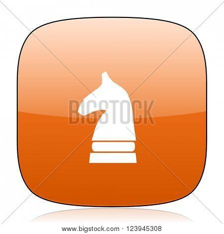 chess horse orange square glossy web icon