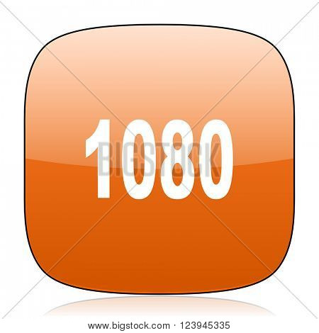 1080 orange square glossy web icon