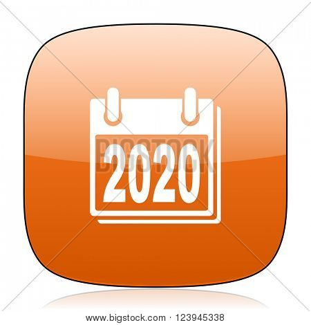 new year 2020 orange square glossy web icon