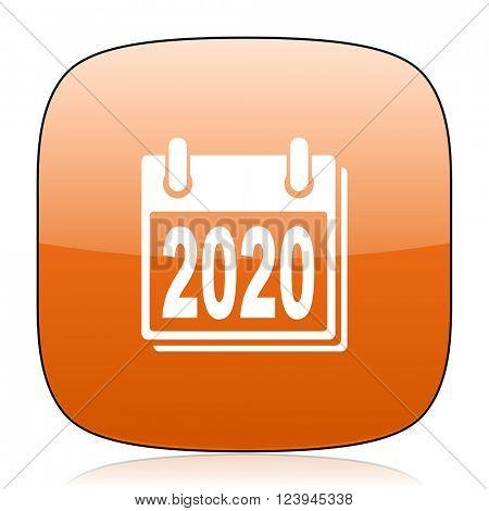 new year 2020 orange square glossy web icon