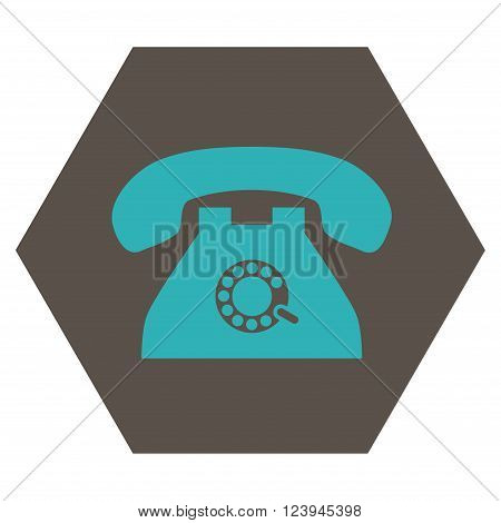 Pulse Phone vector icon symbol. Image style is bicolor flat pulse phone iconic symbol drawn on a hexagon with grey and cyan colors.