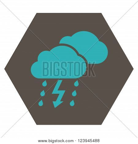 Thunderstorm vector icon. Image style is bicolor flat thunderstorm icon symbol drawn on a hexagon with grey and cyan colors.