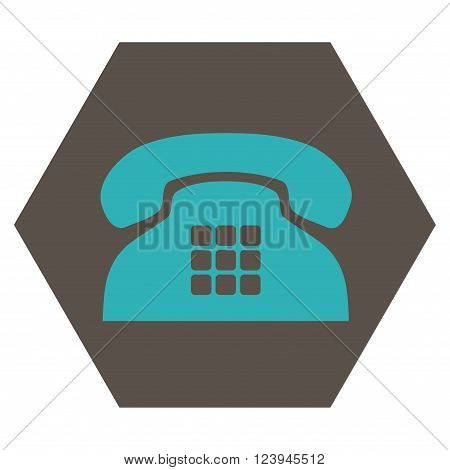 Tone Phone vector icon. Image style is bicolor flat tone phone pictogram symbol drawn on a hexagon with grey and cyan colors.