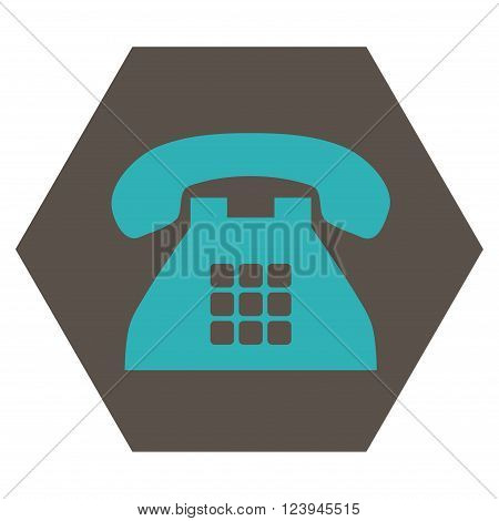 Tone Phone vector symbol. Image style is bicolor flat tone phone icon symbol drawn on a hexagon with grey and cyan colors.