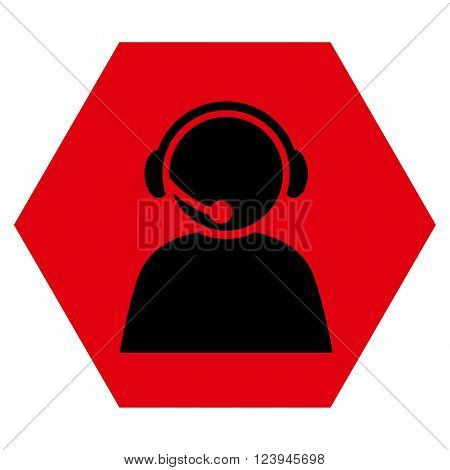 Call Center Operator vector pictogram. Image style is bicolor flat call center operator pictogram symbol drawn on a hexagon with intensive red and black colors.