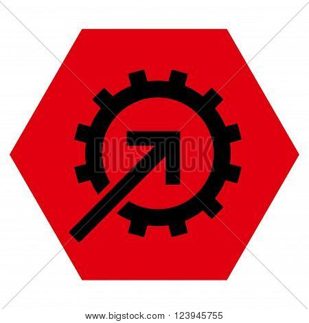 Cog Integration vector symbol. Image style is bicolor flat cog integration iconic symbol drawn on a hexagon with intensive red and black colors.