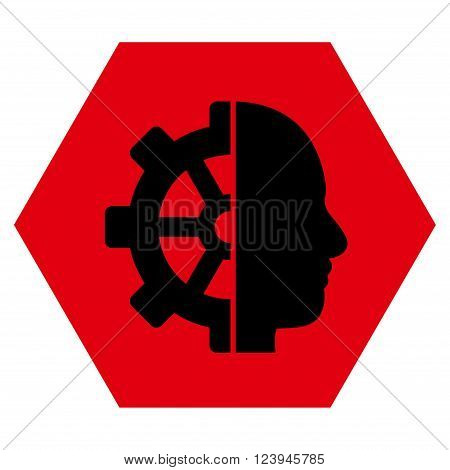 Cyborg Gear vector icon. Image style is bicolor flat cyborg gear iconic symbol drawn on a hexagon with intensive red and black colors.