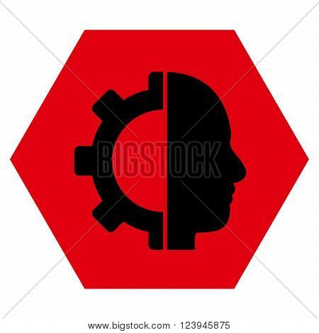 Cyborg Gear vector symbol. Image style is bicolor flat cyborg gear pictogram symbol drawn on a hexagon with intensive red and black colors.