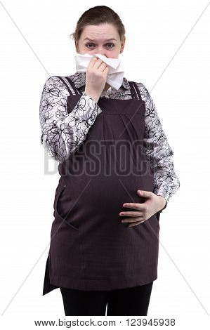 Pregnant woman with handkerchief on white background