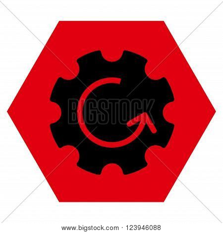 Gear Rotation vector icon symbol. Image style is bicolor flat gear rotation icon symbol drawn on a hexagon with intensive red and black colors.
