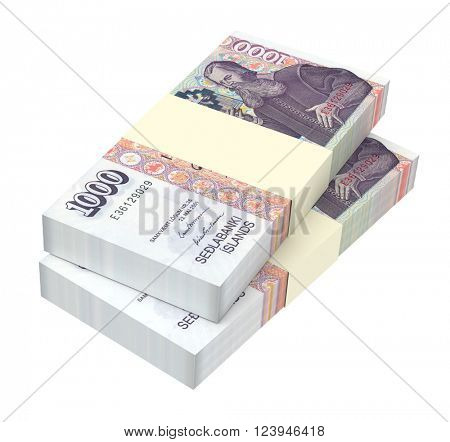 Icelandic kronas bills isolated on white background. 3D illustration.