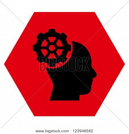 Head Gear vector icon. Image style is bicolor flat head gear pictogram symbol drawn on a hexagon with intensive red and black colors.