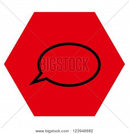 Hint Cloud vector pictogram. Image style is bicolor flat hint cloud pictogram symbol drawn on a hexagon with intensive red and black colors.