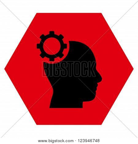 Intellect Gear vector pictogram. Image style is bicolor flat intellect gear pictogram symbol drawn on a hexagon with intensive red and black colors.