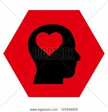 Lover Head vector icon. Image style is bicolor flat lover head pictogram symbol drawn on a hexagon with intensive red and black colors.