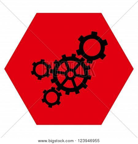 Mechanism vector icon. Image style is bicolor flat mechanism iconic symbol drawn on a hexagon with intensive red and black colors.