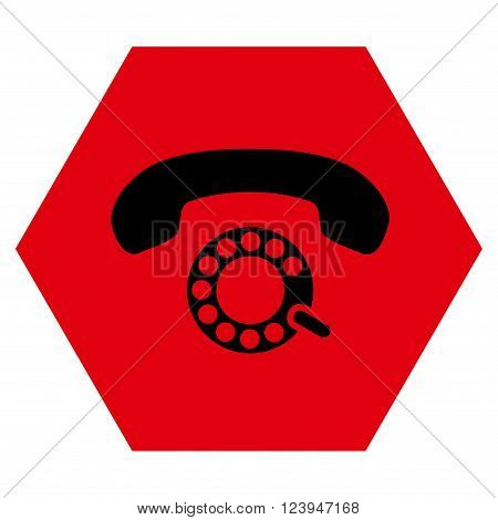 Pulse Dialing vector symbol. Image style is bicolor flat pulse dialing pictogram symbol drawn on a hexagon with intensive red and black colors.