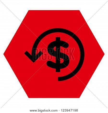 Refund vector pictogram. Image style is bicolor flat refund pictogram symbol drawn on a hexagon with intensive red and black colors.