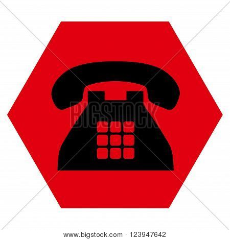 Tone Phone vector pictogram. Image style is bicolor flat tone phone icon symbol drawn on a hexagon with intensive red and black colors.
