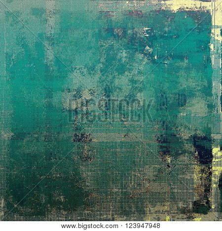 Grunge background with vintage style graphic elements, retro feeling composition and different color patterns: yellow (beige); green; blue; gray; cyan