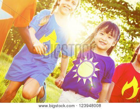 Friendship Children Cheerful Enjoying Concept
