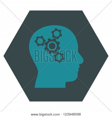 Brain Mechanics vector icon. Image style is bicolor flat brain mechanics iconic symbol drawn on a hexagon with soft blue colors.