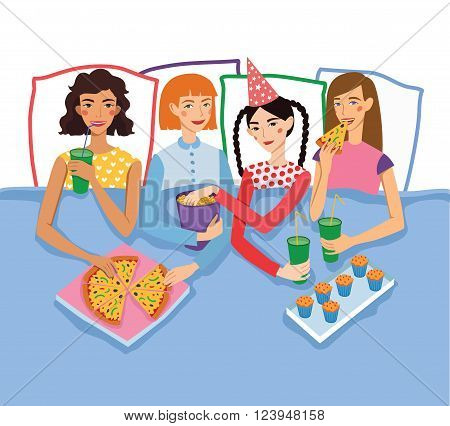 Slumber Party With Four Cute Girls Friends Vector Illustration. Ginger, Brunette, Blond and Brown Haired Girlfriends With Different Hairstyles Chatting, Snacking During Sleepover. Artwork is perfect for fun event gathering, magazine article, packaging.