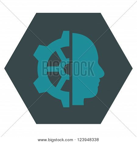 Cyborg Gear vector pictogram. Image style is bicolor flat cyborg gear icon symbol drawn on a hexagon with soft blue colors.