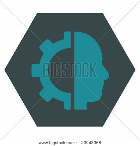 Cyborg Gear vector symbol. Image style is bicolor flat cyborg gear iconic symbol drawn on a hexagon with soft blue colors.