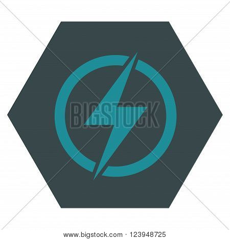 Electricity vector icon. Image style is bicolor flat electricity iconic symbol drawn on a hexagon with soft blue colors.