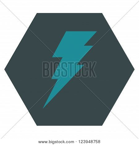 Execute vector symbol. Image style is bicolor flat execute pictogram symbol drawn on a hexagon with soft blue colors.