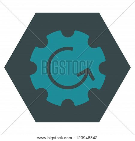 Gear Rotation vector symbol. Image style is bicolor flat gear rotation icon symbol drawn on a hexagon with soft blue colors.