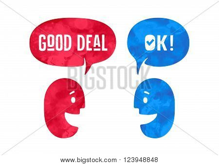 Two people with different shapes cloud talk for discount themes. Word Ok and Good Deal in bubble. Watercolor in hand drawn paths. Vector Illustration