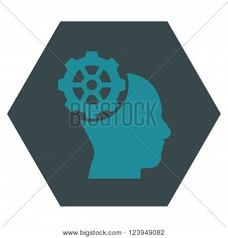 Head Gear vector pictogram. Image style is bicolor flat head gear pictogram symbol drawn on a hexagon with soft blue colors.