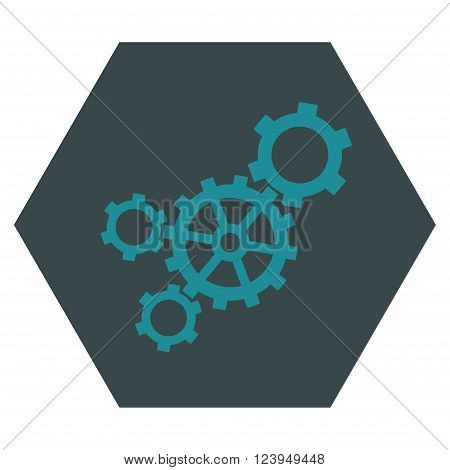 Mechanism vector icon symbol. Image style is bicolor flat mechanism pictogram symbol drawn on a hexagon with soft blue colors.