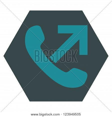 Outgoing Call vector icon. Image style is bicolor flat outgoing call iconic symbol drawn on a hexagon with soft blue colors.