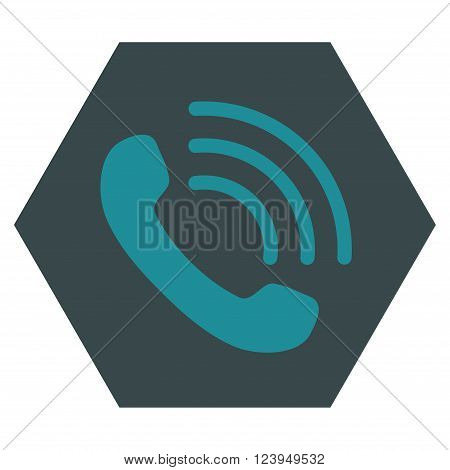 Phone Call vector symbol. Image style is bicolor flat phone call pictogram symbol drawn on a hexagon with soft blue colors.