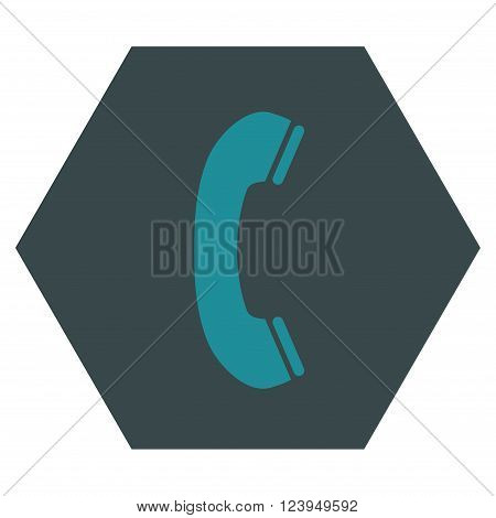 Phone Receiver vector pictogram. Image style is bicolor flat phone receiver icon symbol drawn on a hexagon with soft blue colors.